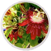 Passion In Red Round Beach Towel by Alan Lakin