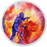 Passion On The Dance Floor Round Beach Towel