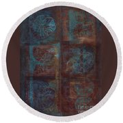 Round Beach Towel featuring the painting Passion Play - Six Of Hearts by Kerryn Madsen - Pietsch