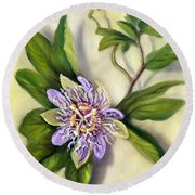 Round Beach Towel featuring the painting Passion Vine Flower by Randol Burns