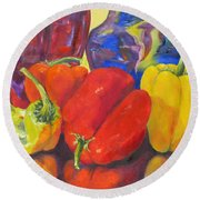 Passionate Peppers Round Beach Towel by Lisa Boyd