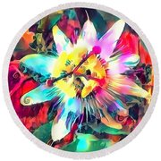 Passionflower Round Beach Towel by Jack Torcello