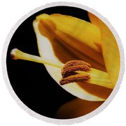 Passionate Yellow Lily Round Beach Towel