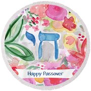 Round Beach Towel featuring the mixed media Passover Chai- Art By Linda Woods by Linda Woods