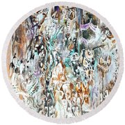 Round Beach Towel featuring the painting Past Life Trauma Inverted by Reed Novotny