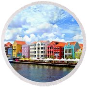 Pastel Building Coastline Of Caribbean Round Beach Towel
