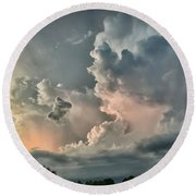 Pastel Clouds Round Beach Towel