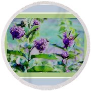 Pastel Green Field Flowers Round Beach Towel by Shirley Moravec