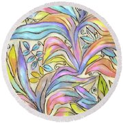 Pastel Leaves Round Beach Towel