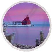 Pastel Lighthouse Round Beach Towel