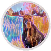 Pastel Moose Couple Round Beach Towel