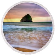 Round Beach Towel featuring the photograph Pastel Morning At Kiwanda by Darren White