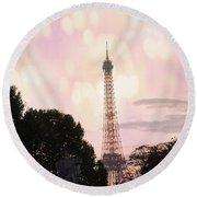 Round Beach Towel featuring the photograph Pastel Paris Eiffel Tower Sunset Bokeh Lights - Romantic Eiffel Tower Pink Pastel Home Decor by Kathy Fornal