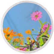 Pastel Poppies Round Beach Towel