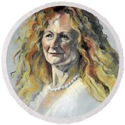 Pastel Portrait Of Woman With Frizzy Hair Round Beach Towel