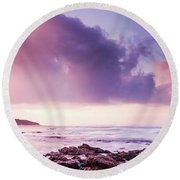 Pastel Purple Seashore Round Beach Towel