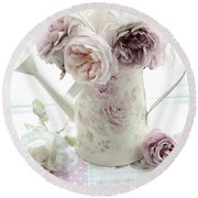Round Beach Towel featuring the photograph Pastel Romantic Shabby Chic Pink Flowers In Watering Can - Romantic Cottage Floral Home Decor  by Kathy Fornal