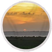 Round Beach Towel featuring the photograph Pastel Sky by Debra Martz