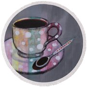 Round Beach Towel featuring the painting Pastel Stripes Polka Dotted Coffee Cup by Robin Maria Pedrero