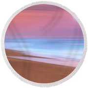 Round Beach Towel featuring the photograph Pastel Sunset And Moonrise Over Hutchinson Island Beach, Florida. by Justin Kelefas