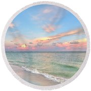 Pastel Sunset On Sanibel Island Round Beach Towel