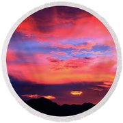 Pastel Sunset Round Beach Towel