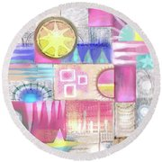 Pastel Symmetry Round Beach Towel