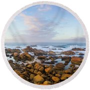 Pastel Tone Seaside Sunrise Round Beach Towel