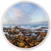 Pastel Tone Seaside Sunrise Round Beach Towel