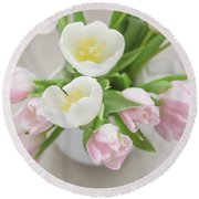 Round Beach Towel featuring the photograph Pastel Tulips by Kim Hojnacki