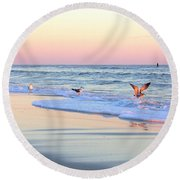 Pastels On Water Round Beach Towel by Faith Williams
