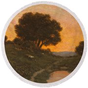 Pastoral Scene At Sunset  Round Beach Towel