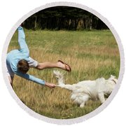 Pasture Ballet Human Interest Art By Kaylyn Franks   Round Beach Towel