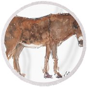 Pasture Boss 2015 Watercolor Painting By Kmcelwaine Round Beach Towel
