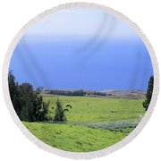 Pasture By The Ocean Round Beach Towel