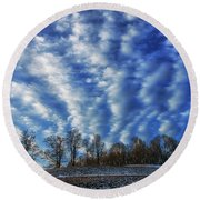 Pasture Field And Winter Sky Round Beach Towel by Thomas R Fletcher