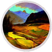 Pasture In The Mountains Round Beach Towel