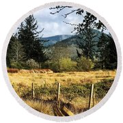 Round Beach Towel featuring the photograph Pasture, Trees, Mountains Sky by Chriss Pagani
