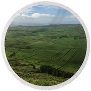 Pastures Inside The Rim On Terceira, Azores, Portugal Round Beach Towel by Kelly Hazel