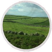 Pastures Of Terceira, The Azores, Portugal Round Beach Towel by Kelly Hazel