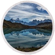 Patagonia Lake Reflection - Chile Round Beach Towel