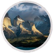 Patagonian Sunrise Round Beach Towel by Andrew Matwijec