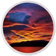 Patagonian Sunrise Round Beach Towel by Joe Bonita