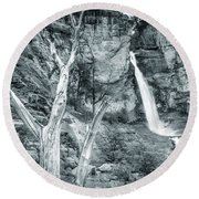 Patagonian Waterfall Round Beach Towel by Andrew Matwijec