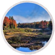 Round Beach Towel featuring the photograph Patches Of Fog At The Green Bridge by David Patterson