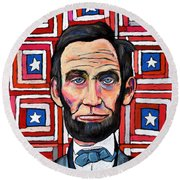 Patchwork Flag Lincoln Round Beach Towel
