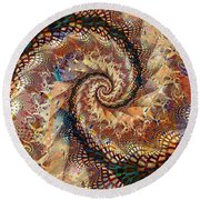 Round Beach Towel featuring the digital art Patchwork Spiral by Richard Ortolano