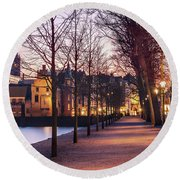 Round Beach Towel featuring the photograph Path By A Pond - The Hague by Barry O Carroll