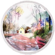 Path In Colors Round Beach Towel