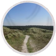 Path In The Dunes Of Schoorl Round Beach Towel